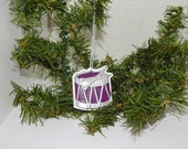 Hand Painted Plaster Dark Plum and Metallic Silver Drum Ornament