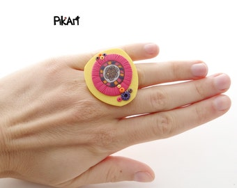 Yellow, Pink, Orange, Purple Polymer Clay Abstract Asymmetric Ring