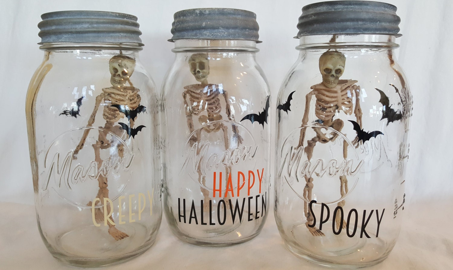 Creepy vintage hanging skeleton in a mason jar steampunk for Antique halloween decoration