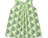 Split Leaf Green Tropical Cheese Plant Monstera Handmade 'Mini Me' Little Girls Pleated Front Beatrice Shift Dress