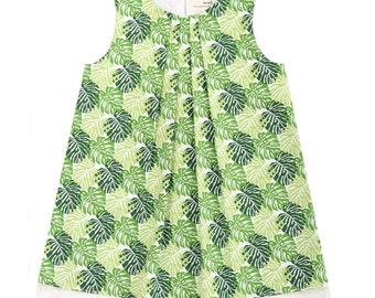 Split Leaf Green Tropical Cheese Plant Monstera Handmade 'Mini Me' Little Girls Pleated Front Beatrice Shift Dress