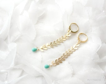 fishbone - gold chain and tiny turquoise pop of color / modern tribal jewelry / gift for her