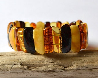 Multicolor Baltic Amber Bracelet Natural Amber Jewelry Spring Fashion Summer Gift for Her