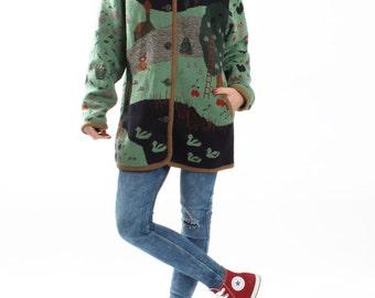 Vintage Mint Blue Knit Knitted Cardigan / Oversized Wool Cardigan / Winter Warm Sweater Knitted Coat Jacket Womens Size Medium Large