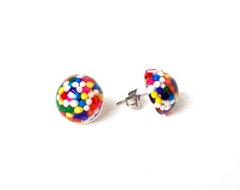 Small candy post earrings, candy jewelry, tiny stud earrings, small sprinkles stud earrings, resin jewelry, sweet lolita, harajuku fashion