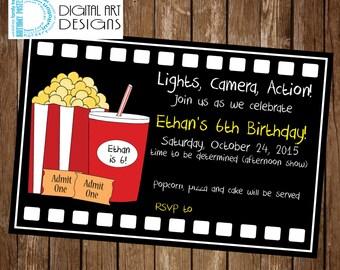 Movie Birthday Invitation - Movie Party Invite - Movie Ticket Birthday Invite - Movie Night Invitation - Movie Party Idea - Movie Party