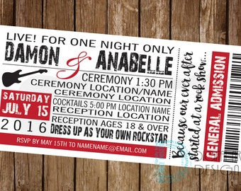 Rock and Roll wedding invitation - rock concert invite - music wedding invitation - concert ticket invitation - rock and roll invite - print