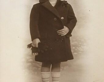 "Vintage victorian adorable boy in his sailor coat and hat 5 by 7""Original folder"