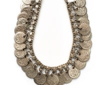 REDUCED was 40 now 30 ethnic VINTAGE 60s/70s INDIAN dangly tribal silver coin anklet