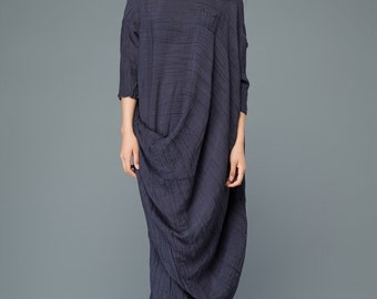 Navy blue linen dress women's dress  C929