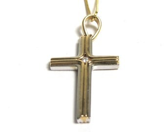 Vintage Cross - 14k Yellow Gold and Diamond Cross with 14k Gold Chain Necklace - Religious - Christian - Crucifix - Easter # 1601