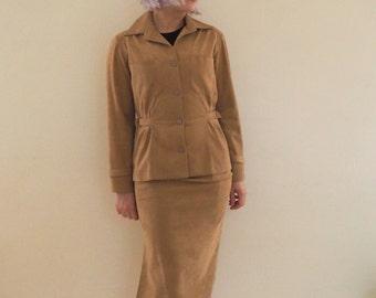 Vintage Brodkin Ultresuede Beige Ladies Suit
