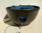 Ready to Ship - Large Pottery Yarn Bowl UK Knitting Bowl Handmade - Pebble black