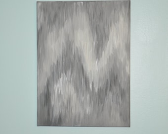 Black, White, Gray & Silver Ikat Inspired Abstract Chevron Painting 12x16 - Original Canvas Hanging Wall Art Sign