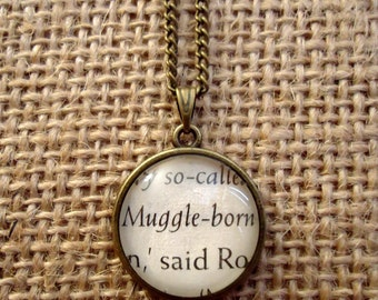 Muggle - born Book Page Necklace - Harry Potter