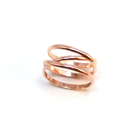 Rose Gold Criss Cross Infinity +1 Ring.  Unique Statement Ring.  Pink Gold Crossover Ring.