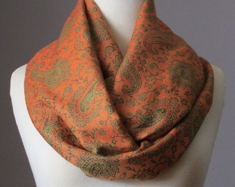 Infinity scarf, Orange Scarf , loop scarf, paisley  scarf, pashmina scarf