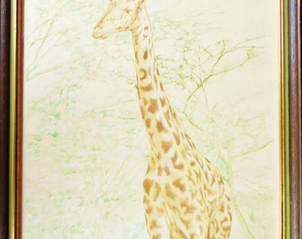 Vintage 1980's Giraffe Lithograph Print Signed by Artist Robert Stevens, Titled Tall One 32/300, Framed
