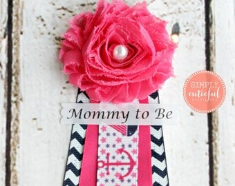 Pink Nautical Baby Shower Corsage Mommy to Be Grandma to Be Pin Badge Ahoy Anchor Corsage Baby Shower, Nautical Baby Shower