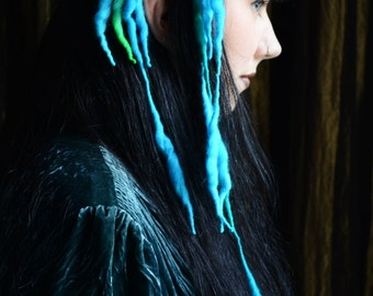 Bright Blue & Neon Green MINI ELFLOCKS Clip-in Dreads Dreadlocks for Cosplay, LARP, Tribal Dance, Festivals, Alt Fashion, Goth, Performance