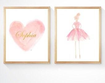 Ballet Gift, Set of 2 - 8x10, Ballerina Art, Ballet Room Decor, Girls Ballet Print, Blush Nursery, Blush Ballerina Decor, Blush Ballet Decor