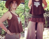 Custom Made to Order Aria Flow tank top Organic Hemp and Cotton Dyed with Herbs Indian Block Printed