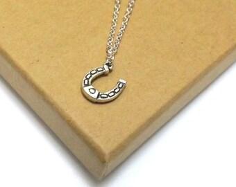Silver Horseshoe Pendant, Horseshoe Necklace, Good Luck Charm Necklace, Bride Horseshoe, Long Bridal Necklace,  Long Horseshoe Pendant