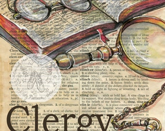 PRINT:  Clergy Mixed Media Drawing on Antique Dictionary