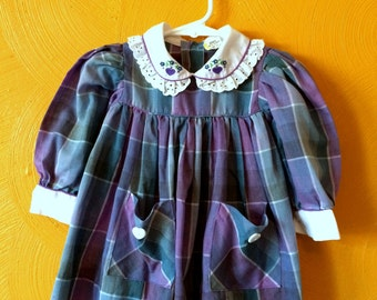 Vintage purple madras plaid heart dress with eyelet peter pan collar and pockets Size 9/12M