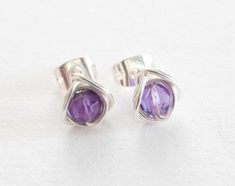 Amethyst Stud Earrings, Tiny Faceted Amethyst Post Earrings, Purple Stud Earrings, February Birthstone, Bridesmaids Gifts