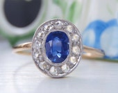 Art Deco / Edwardian Vintage Ring. Rose Cut Diamonds, Sapphire, 18K Gold. Petite & Perfect! Sweet Engraving Circles The Ring in Eternity.
