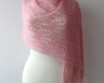 15% OFF - Pink handknit lace shawl with Frosty Flowers Lace pattern
