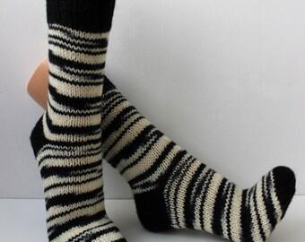 Wool socks, Hand knitted socks, funny Zebra socks