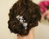 Sara - Swarovski Crystal Gold Hair Comb, bridal hair comb, wedding hair piece, gold hair clip, wedding accessory