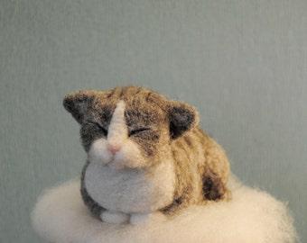 Needle Felted Napping Cat, Handmade Animal, Felt Kitty, Sleeping Grey Striped Cat - READY TO SHIP
