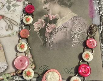 Pink cameo button bracelet