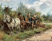 """Horses and Workers Restored Art Print """"Stones for the Roadside"""", Artist Harry Payne Great Gift for the Horse Lover"""