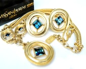 Haute Couture Yves Saint Laurent 10K Gold Blue Sapphire Necklace And Earrings Set High Fashion Jewelry For Women Designer Signed IOB YSL