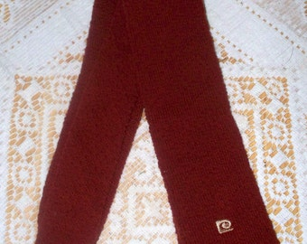 1960s Pierre Cardin Square Knit Tie - Rust - Square Skinny Tie - Pierre Cardin Paris New York - 100% Wool - Made in USA