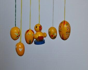 Yellow Vintage German Easter Egg Ornaments. Vintage German. Authentic. Original. Y-6