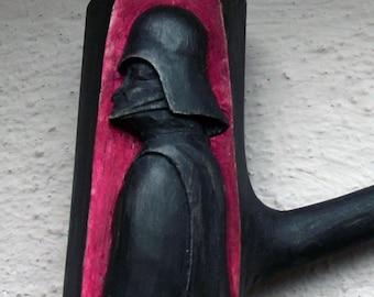 Handmade Unique Simple Walnut Smoking Pipe with Darth Vader