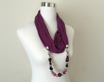 purple infinity jewelry scarf - necklace scarf - gift or for you