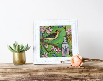 "Bird Art Print. Yellow Bird Artwork - 8x8"" Green Kitchen Bird Art - Fine Art Illustration Print - Whimsical Yellow Bird with Pink Flowers"