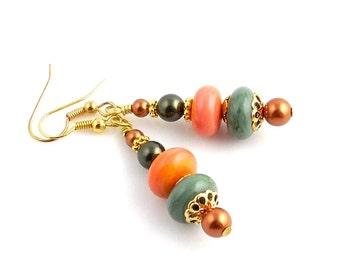 Orange and Green Beaded Lampwork Earrings, Lampwork Jewelry, Fall Jewelry, Fashion Jewelry, Gifts, Fall Holidays