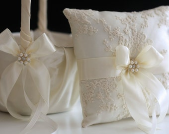 Ivory Flower Girl Basket and Ring bearer Pillow