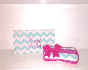 Personalized Wipe Case & Changing Pad Set.  Aqua and White Chevron With Hot Pink Accents. Free Embroidery