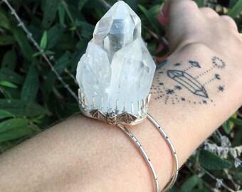 huge quartz cluster bracelet with baby bat OOAK