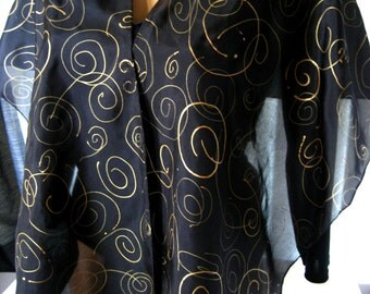Hand Painted Black and Gold Habotai Silk Scarf 14x72 inch. Black and Gold Accessory. Black Silk Scarf, Wrap, with Gold Swirls & Spirals.