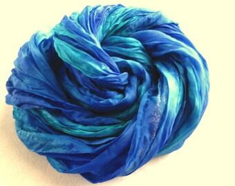 Blue and Aqua Soft Pleated Silk Scarf. 36x70 inch Sapphire & Marine Green Silk Scarf. Hand Dyed Blue Crinkle Scarf, Wrap, Shawl, Sarong.