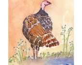Wild Turkey Archival Print, By Michelle Kogan, Art and Collectibles, Watercolor, Thanks Giving, Autumn, Blue, Gray, Brown, Painting, Drawing